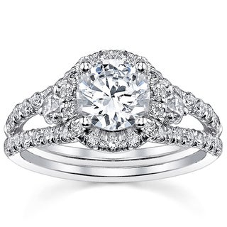 18k White Gold Certified 2ct TDW Round Split Shank Halo Diamond Ring