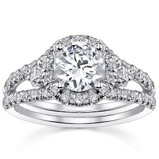 18k White Gold Certified 2ct TDW Round Split Shank Halo Diamond Ring