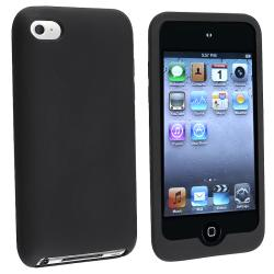 INSTEN Black Soft Silicone Skin iPod Case Cover for Apple iPod Touch Generation 4
