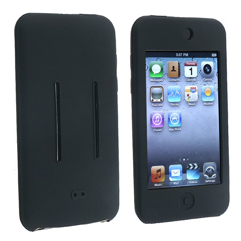 INSTEN Black Soft Silicone Skin iPod Case Cover for Apple iPod Touch Generation 2/ 3