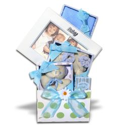 Five-piece Alder Creek Gifts Keepsake Baby Boy Gift Basket in Blue