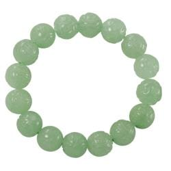 Gems For You Carved Dragon Jade Bead Stretch Bracelet