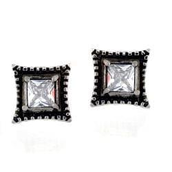 Stainless Steel Cubic Zirconia Vintage Square Stud Earrings