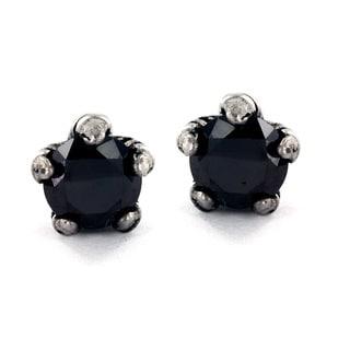 Stainless Steel Black Cubic Zirconia Eagle Claw Stud Earrings