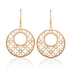 Rose Goldplated Stainless Steel Large Openwork Dangle Earrings