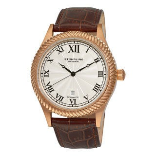 Stuhrling Original Men's Augustus Brown Leather Strap Watch