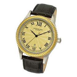 Stuhrling Original Men's Augustus Black Leather Strap Automatic Watch