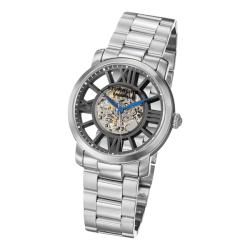 Stuhrling Original Men's Winchester Decorum Black-Dial Stainless-Steel Skeleton Bracelet Watch