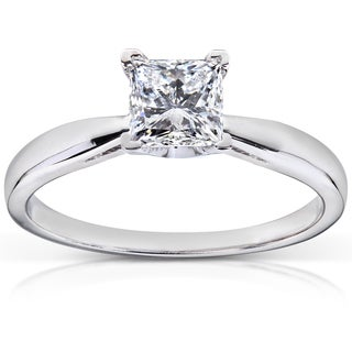 Annello 14k White Gold 3/4 ct TDW Diamond Solitaire Engagement Ring (H-I, I1-I2)