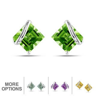 Miadora 10k White Gold Gemstone Stud Earrings