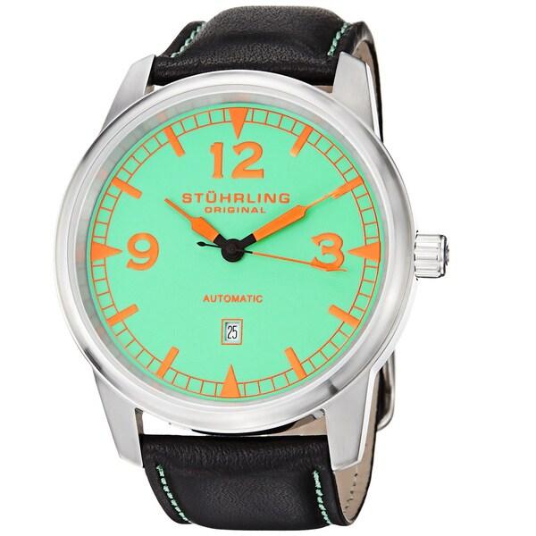 Stuhrling Original Men's Tuskegee Thunderbolt Automatic Black Leather Strap Watch