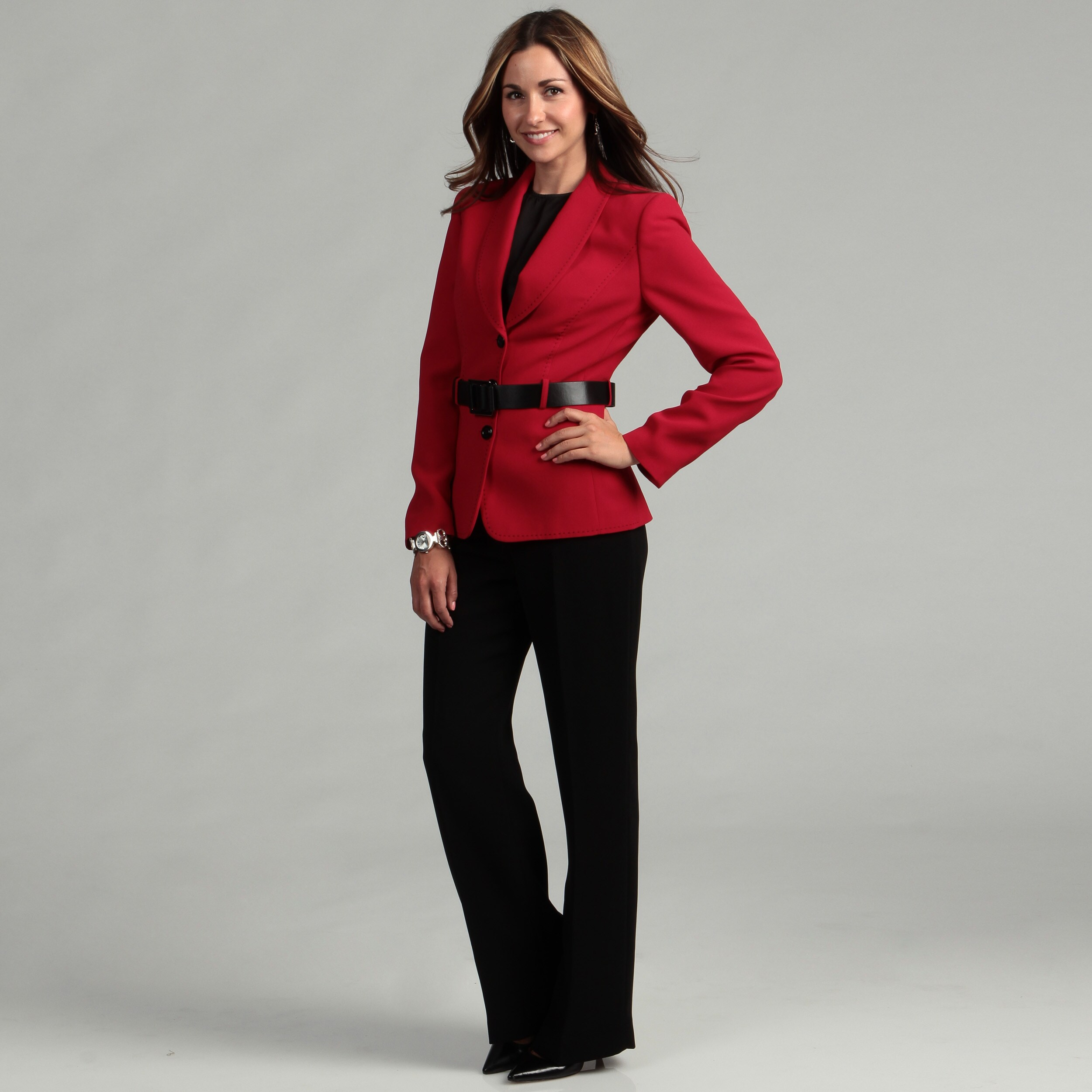 Wonderful Tahari ASL Women39s Red 3button Pant Suit  12960084  Overstockcom