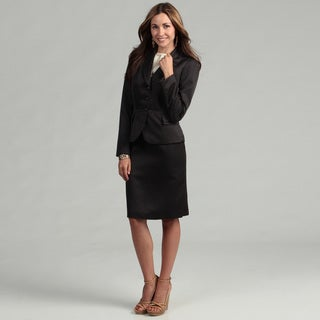 Tahari Women's Black/ White Pin Dot Ruffle Skirt Suit
