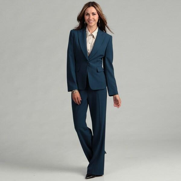 Tahari Women's Prussian Blue 1-button Pant Suit