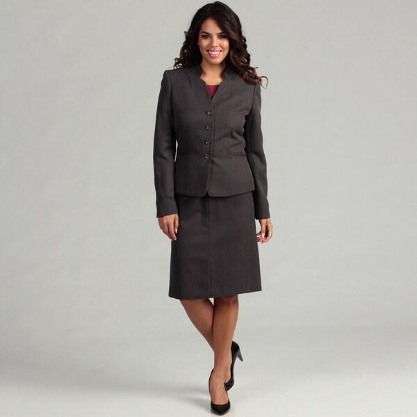 Tahari Women's 4-button Pinstripe Skirt Suit