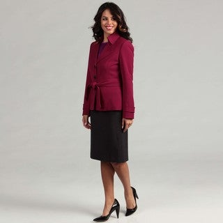Tahari Women's Magenta Trench Jacket Skirt Suit