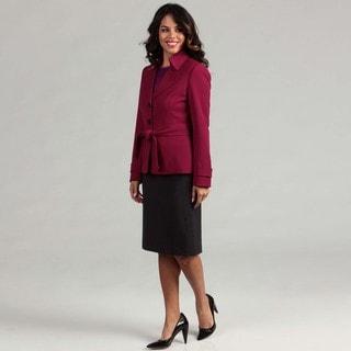 Tahari Women's Magenta Trench Jacket Skirt Suit