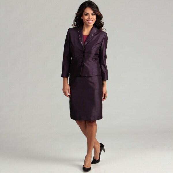 Tahari Women's Dressy Shantung Skirt Suit