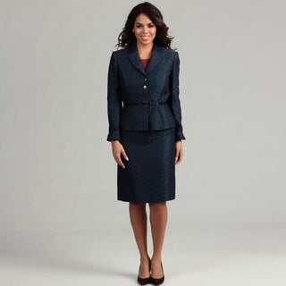 Tahari Women's Jacquard Belted Skirt Suit