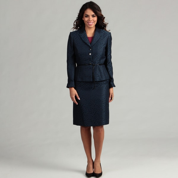 Tahari Women's Jacquard Belted Skirt Suit