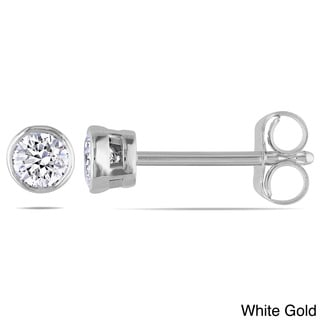 Miadora 14k Gold 1/4ct TDW Bezel-set Diamond Solitaire Stud Earrings (H-I, I1-I2)