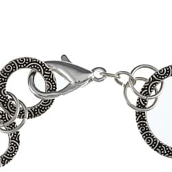 Charming Life Pewter Spiral Design Graduated Ring Link Bracelet