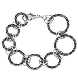 Charming Life Pewter Spiral Design Graduated Ring Link Bracelet