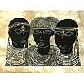 Heidi Lange 'Maasai Girls from Amboseli' Unframed Batik Cotton Screen Print (Kenya)