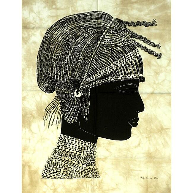 Heidi Lange 'Pokot Warrior' Unframed Batik Cotton Screen Print (Kenya)