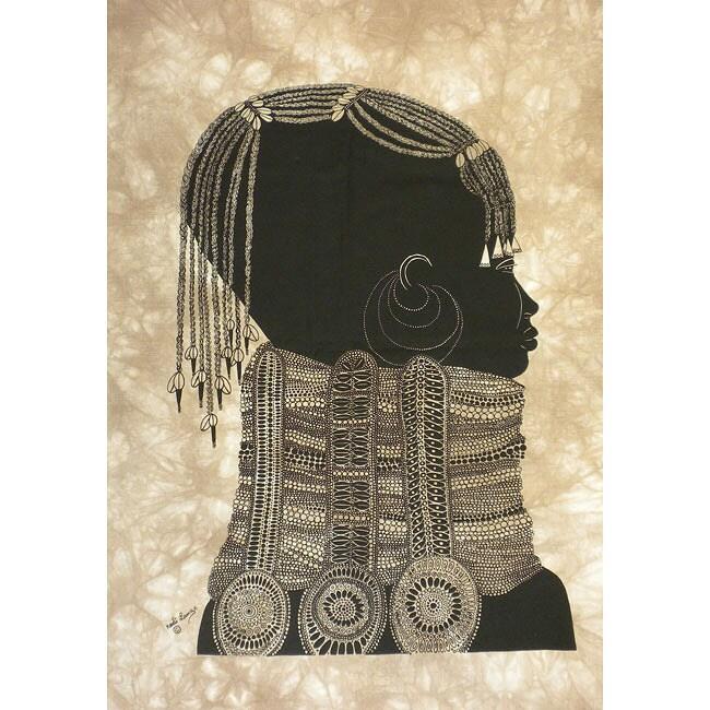 Heidi Lange 'Girl with Necklace' Unframed Batik Cotton Screen Print (Kenya)