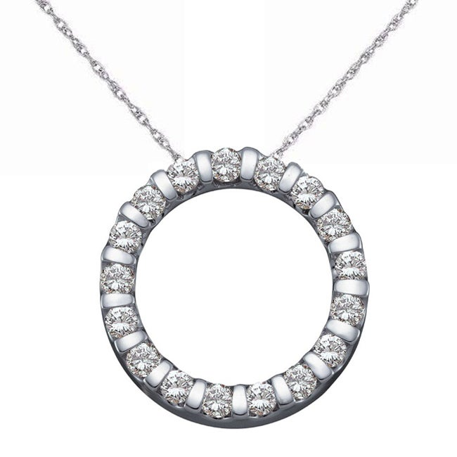 Eloquence 14k White Gold 1/2ct TDW Diamond Circle Necklace (H-I, SI1-SI2)