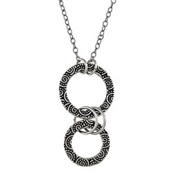 Charming Life Pewter Spiral Design Graduated Circle Necklace