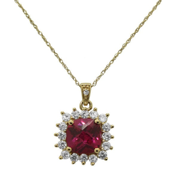 Gioelli 14k Gold over Silver Created Ruby and CZ Necklace