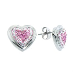 Eternally Haute Stainless Steel Pink and White Czech Crystal Heart Earrings