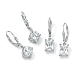 Ultimate CZ Platinum over Silver Cubic Zirconia 2-pair Earring Set