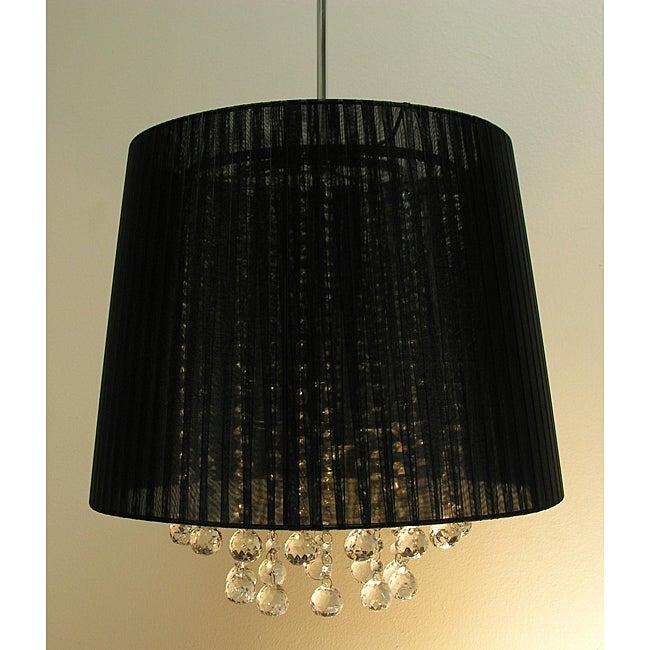 Warehouse of Tiffany Elegant Black Crystal Hanging Lamp