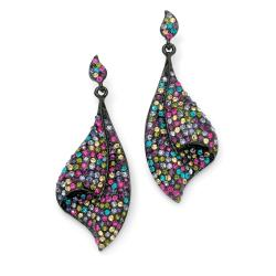 Palmbeach Black Ruthenium Multi-colored Crystal Earrings