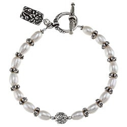 Charming Life Pewter FW Pearl and Flower Spacer Bracelet (7-8 mm)