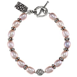 Charming Life Pewter Pink FW Pearl and Flower Spacer Bracelet (7-8 mm)