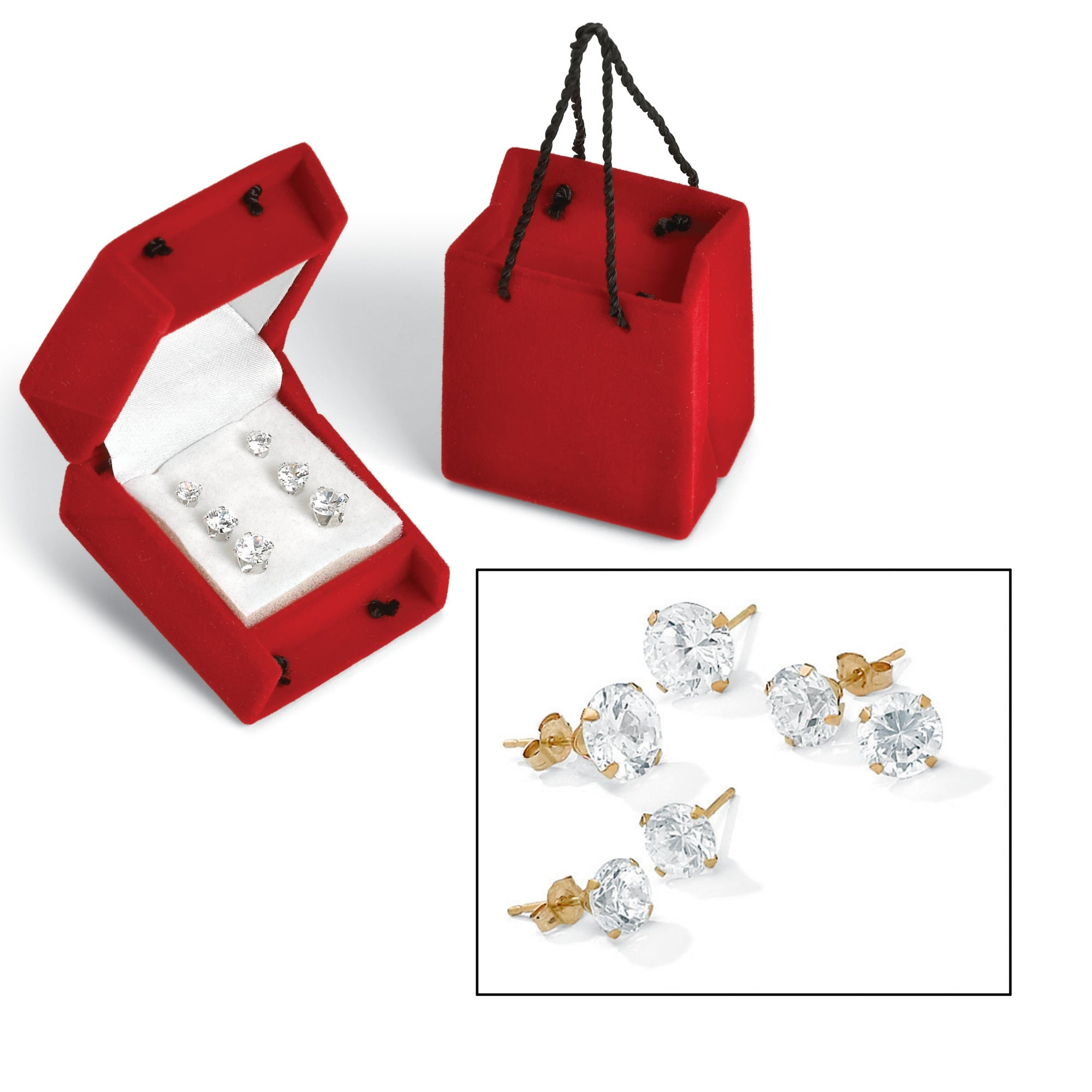 PalmBeach 3 Pair 5.15 TCW Round Cubic Zirconia Stud Earrings Set in 10k Gold Classic CZ