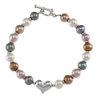 Charming Life Silver Multi-colored FW Pearl Heart Bracelet (6-7 mm)