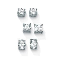 PalmBeach CZ Platinum over Silver Cubic Zirconia 3-pair Earring Set Classic CZ