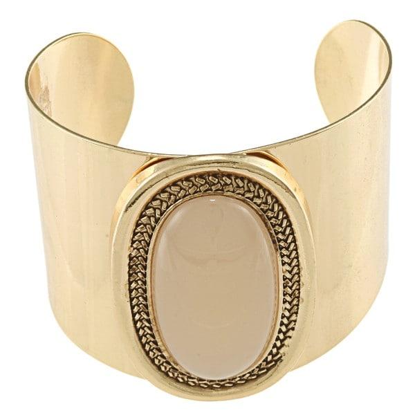Goldtone Created Moonstone Fashion Cuff Bracelet