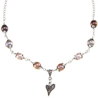 Charming Life Sterling Silver FW Pearl and Heart Charm Necklace