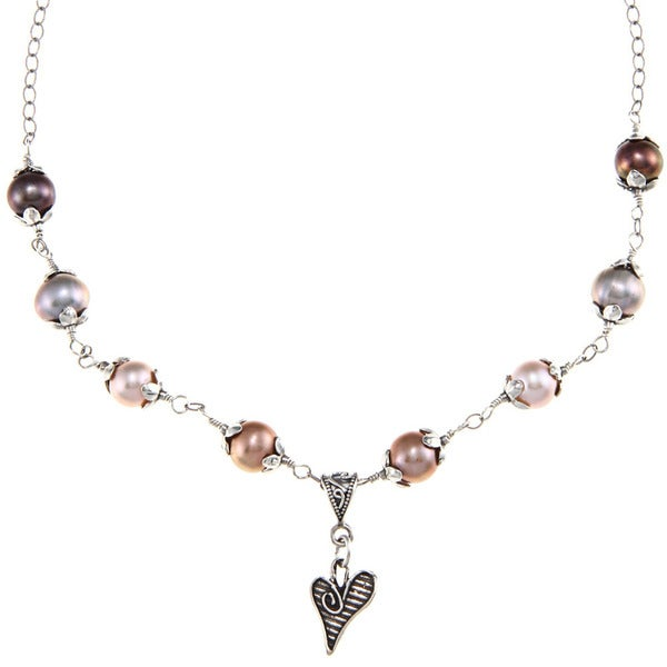 Charming Life Sterling Silver Multi-colored FW Pearl and Heart Charm Necklace