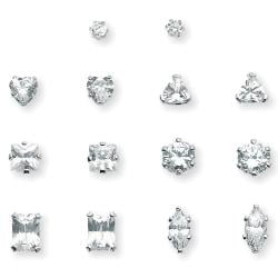 Ultimate CZ Platinum over Silver Cubic Zirconia 7-pair Earring Set