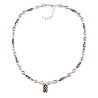 Charming Life Pewter Pink Pearl and Flower Barrel Necklace (7-8 mm)
