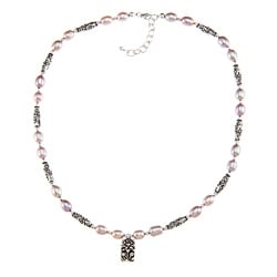 Charming Life Pewter Pink Pearl and Lotus Charm Necklace (7-8 mm)