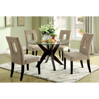 Furniture of America Novae Round Tempered Glass Top Dining Table