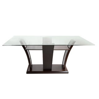 Furniture of America Marion Rectangular Glass Top Dining Table